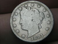 1891 LIBERTY HEAD V NICKEL 5 CENT PIECE- GOOD/VG DETAILS