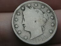 1890 LIBERTY HEAD V NICKEL 5 CENT PIECE- GOOD DETAILS
