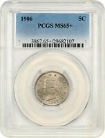 1906 5C PCGS MINT STATE 65 GEM TYPE COIN - LIBERTY V NICKEL - GEM TYPE COIN