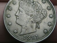 1891 LIBERTY HEAD V NICKEL 5 CENT PIECE- EXTRA FINE  DETAILS