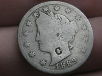 1889 LIBERTY HEAD V NICKEL- COUNTERSTAMPED