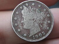 1905 LIBERTY HEAD V NICKEL- VF/EXTRA FINE  DETAILS, FULL DATE