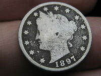 1897 LIBERTY HEAD V NICKEL- GOOD DETAILS, FULL DATE