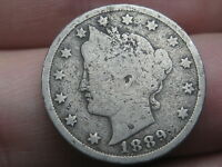 1889 LIBERTY HEAD V NICKEL- VG OBVERSE DETAILS, FULL RIMS