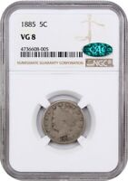 1885 5C NGC/CAC VG-08 - KEY DATE - LIBERTY V NICKEL - KEY DATE