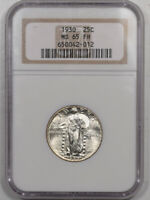 1930 STANDING LIBERTY QUARTER NGC MINT STATE 65 FH, BLAST WHITE &