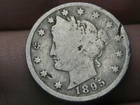 1895 LIBERTY HEAD V NICKEL 5 CENT PIECE- VG DETAILS