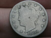 1883 LIBERTY HEAD V NICKEL 5 CENT PIECE- WITH CENTS, GOOD DETAILS, FULL DATE