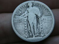 1917 S- 1924 S SILVER STANDING LIBERTY QUARTER, RAISED DATE, TYPE 2