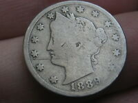 1889 LIBERTY HEAD V NICKEL- GOOD/VG DETAILS, FULL DATE