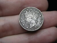 1883 LIBERTY HEAD V NICKEL- WITH CENTS- FINE/VF DETAILS