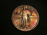 1918 P SILVER STANDING LIBERTY QUARTER, VF DETAILS, RAINBOW TONED