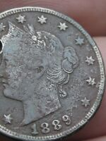 1889 LIBERTY HEAD V NICKEL- VF/EXTRA FINE  DETAILS