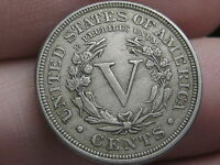 1889 LIBERTY HEAD V NICKEL- FULL RIMS
