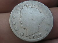 1889 LIBERTY HEAD V NICKEL 5 CENT PIECE- FULL DATE