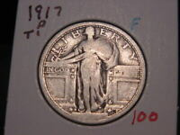 1917-D T1 STANDING LIBERTY QUARTER FINE F  COMBINED SHIPPING