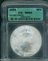2000 AMERICAN SILVER EAGLE ASE S$1 ICG MINT STATE 69 MINT STATE 69 BEAUTIFUL