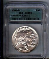 2001-D BUFFALO SILVER $1- ICG -  MINT STATE 69 - - WHITE