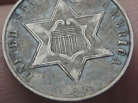 1862 THREE 3 CENT SILVER TRIME- EXTRA FINE  DETAILS