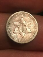 1852 THREE 3 CENT SILVER TRIME- OLD TYPE COIN