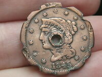 1845 BRAIDED LARGE CENT PENNY- REEDED/TOOTHED EDGE, USED IN ANTIQUE PIE CRIMPER