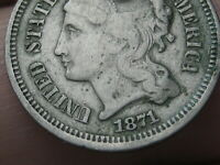 1871 THREE 3 CENT NICKEL- FINE DETAILS