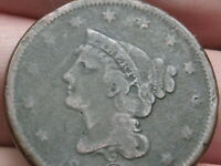 1840 BRAIDED HAIR LARGE CENT PENNY- VG/FINE DETAILS, LARGE DATE