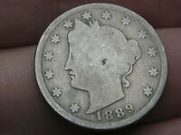 1889 LIBERTY HEAD V NICKEL 5 CENT PIECE- GOOD DETAILS, FULL DATE
