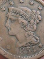 1854 BRAIDED HAIR LARGE CENT, VF/EXTRA FINE  OBVERSE DETAILS