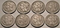 LOT OF  8  THREE CENT NICKELS 1865 1866 1867 1875 BETTER DAT