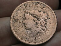 1837 MATRON HEAD LARGE CENT PENNY- MEDIUM LETTERS