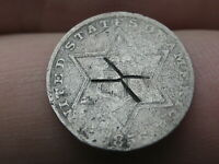 1856 THREE 3 CENT SILVER TRIME- X COUNTERSTAMP