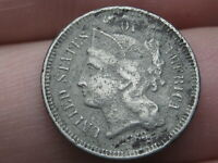 1868 THREE 3 CENT NICKEL- FINE DETAILS, METAL DETECTOR FIND?