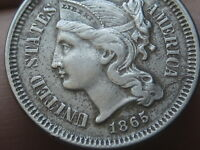 1865 THREE 3 CENT NICKEL- EXTRA FINE /AU DETAILS- DIE CRACK