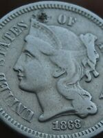 1868 THREE 3 CENT NICKEL- FINE DETAILS