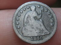 1840 P SEATED LIBERTY HALF DIME- WITH DRAPERY, VG DETAILS