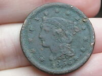 1855 BRAIDED HAIR LARGE CENT PENNY- FINE DETAILS, KNOB ON EAR