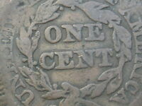 1843 BRAIDED HAIR LARGE CENT PENNY- PETITE, LARGE LETTERS, N-4