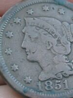 1851 BRAIDED HAIR LARGE CENT PENNY, FINE DETAILS