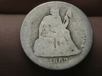 1862 S SEATED LIBERTY DIME- LOWBALL, HEAVILY WORN