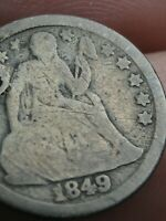 1849 P SEATED LIBERTY SILVER DIME- GOOD/VG DETAILS