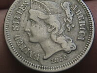 1866 THREE 3 CENT NICKEL- VF/EXTRA FINE  DETAILS