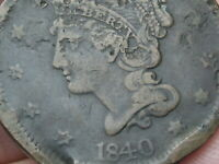 1840 BRAIDED HAIR LARGE CENT PENNY- LARGE DATE- FINE DETAILS