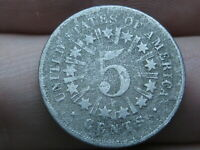1867 SHIELD NICKEL 5 CENT PIECE- WITH RAYS- GOOD/VG DETAILS