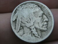 1913 D BUFFALO NICKEL 5 CENT PIECE- TYPE 1, BUFFALO ON MOUND, VG/FINE DETAILS