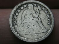 1857 P SEATED LIBERTY SILVER DIME- VG DETAILS