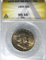 1955 FRANKLIN HALF DOLLAR ANACS CERTIFIED MINT STATE 65 FBL FULL BELL LINES FROM MINT SET