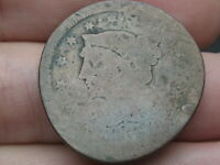 1843-1849 BRAIDED HAIR LARGE CENT PENNY- LARGE LETTERS, SMASHED/ELONGATED