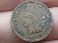 1909 INDIAN HEAD CENT PENNY- VF/EXTRA FINE  DETAILS, 2.5 DIAMONDS