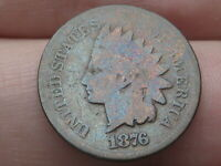1876 INDIAN HEAD CENT PENNY- GOOD/VG DETAILS, TONED
